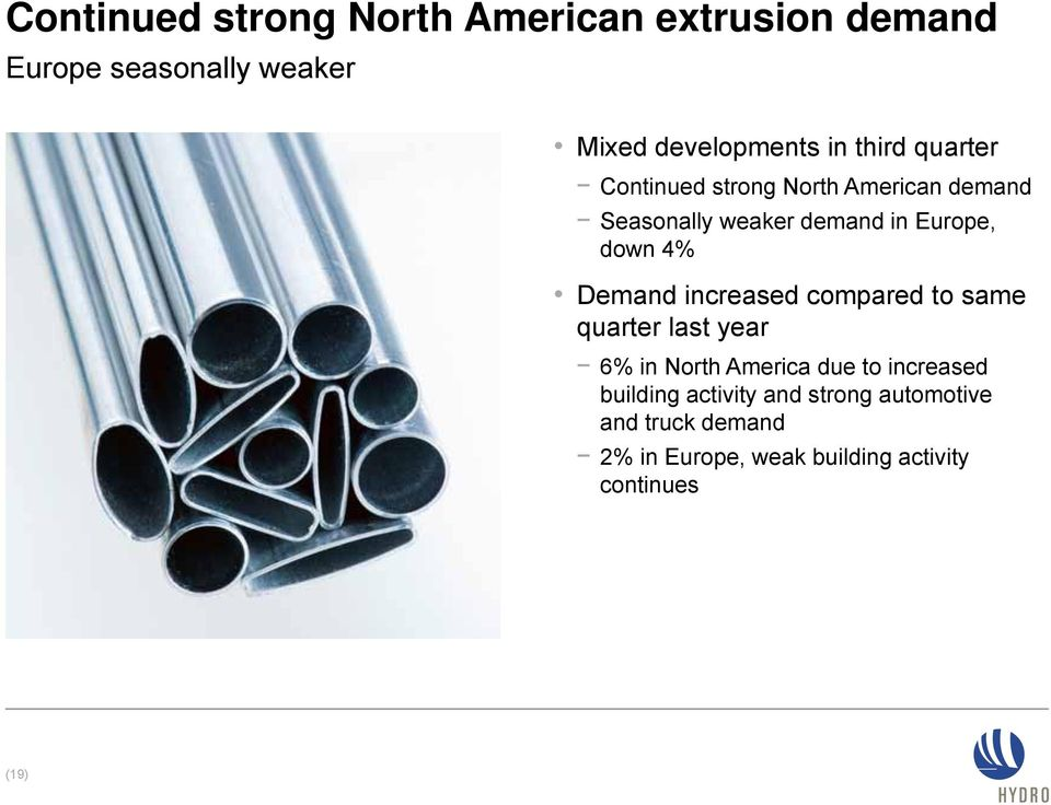 Demand increased compared to same quarter last year 6% in North America due to increased building