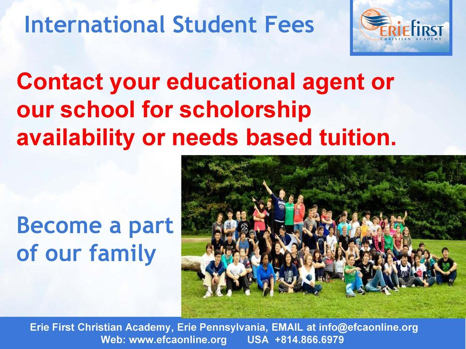 Become a part of our family Erie First Christian Academy, Erie