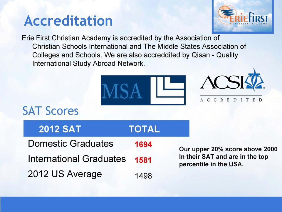 We are also accreddited by Qisan - Quality International Study Abroad Network.