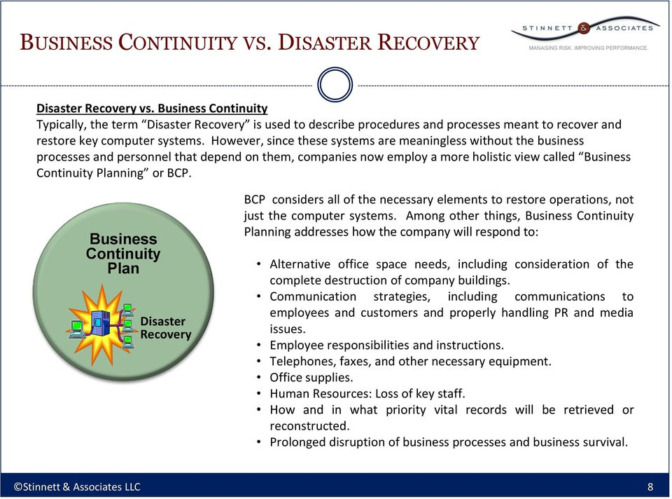However, since these systems are meaningless without the business processes and personnel that depend on them, companies now employ a more holistic view called Business Continuity Planning or BCP.