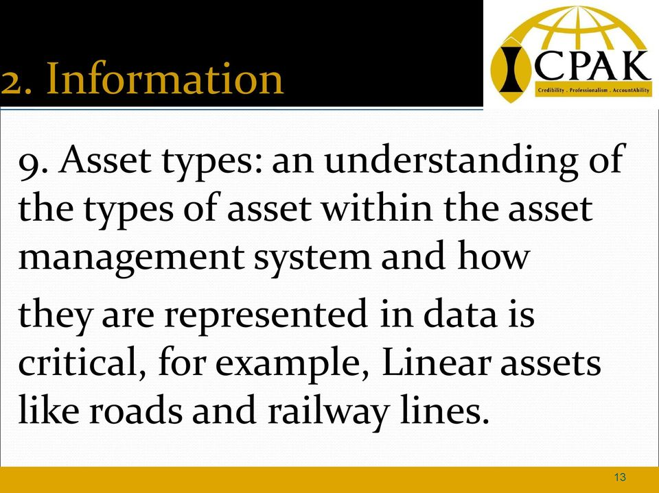 within the asset management system and how they are
