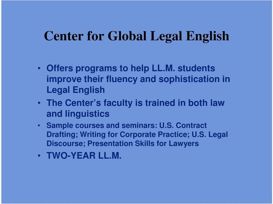 faculty is trained in both law and linguistics Sa