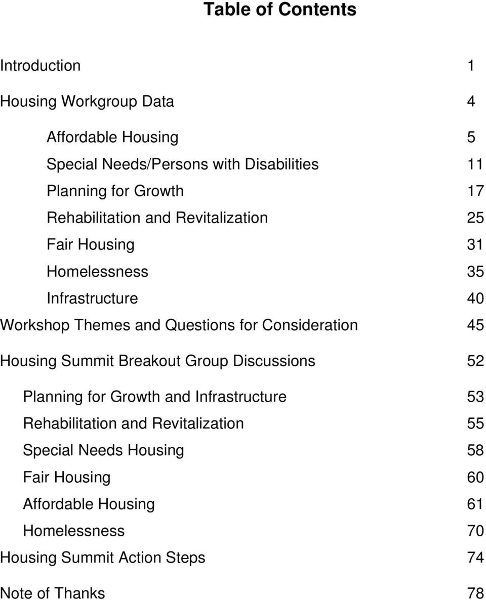 for Consideration 45 Housing Summit Breakout Group Discussions 52 Planning for Growth and Infrastructure 53 Rehabilitation and
