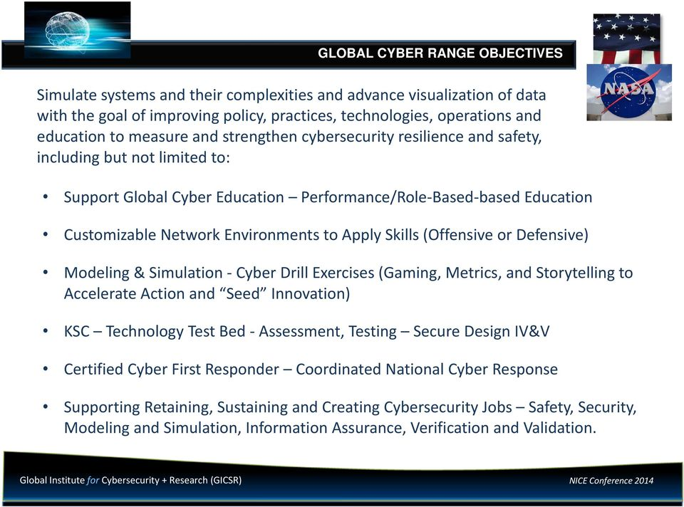 Skills (Offensive or Defensive) Modeling & Simulation Cyber Drill Exercises (Gaming, Metrics, and Storytelling to Accelerate Action and Seed Innovation) KSC Technology Test Bed Assessment, Testing