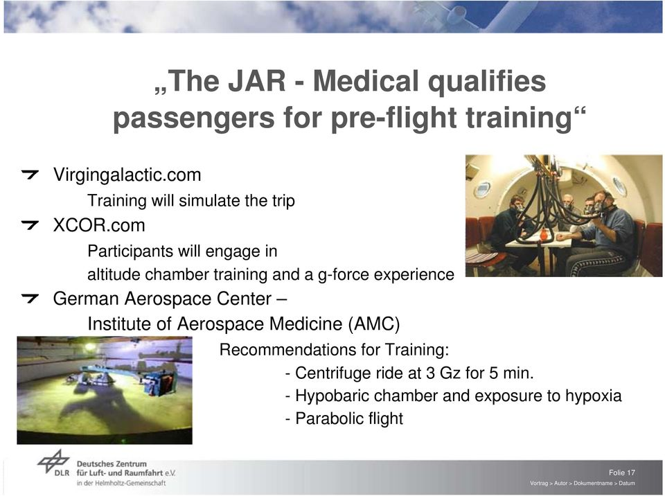 com Participants will engage in altitude chamber training and a g-force experience German Aerospace