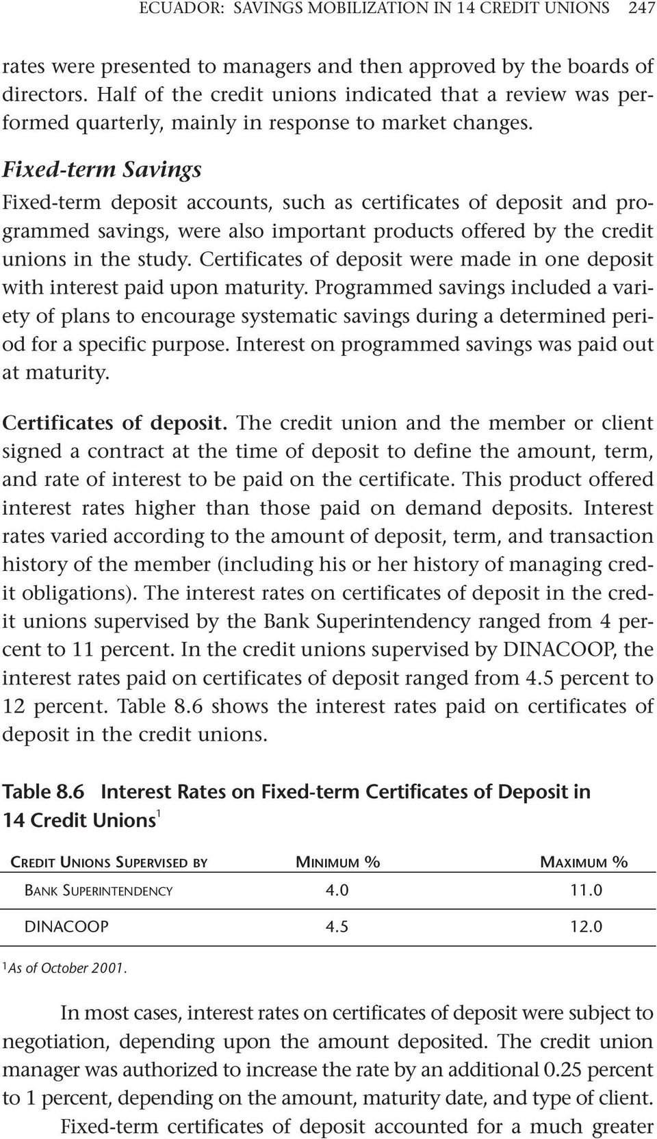 Fixed-term Savings Fixed-term deposit accounts, such as certificates of deposit and programmed savings, were also important products offered by the credit unions in the study.