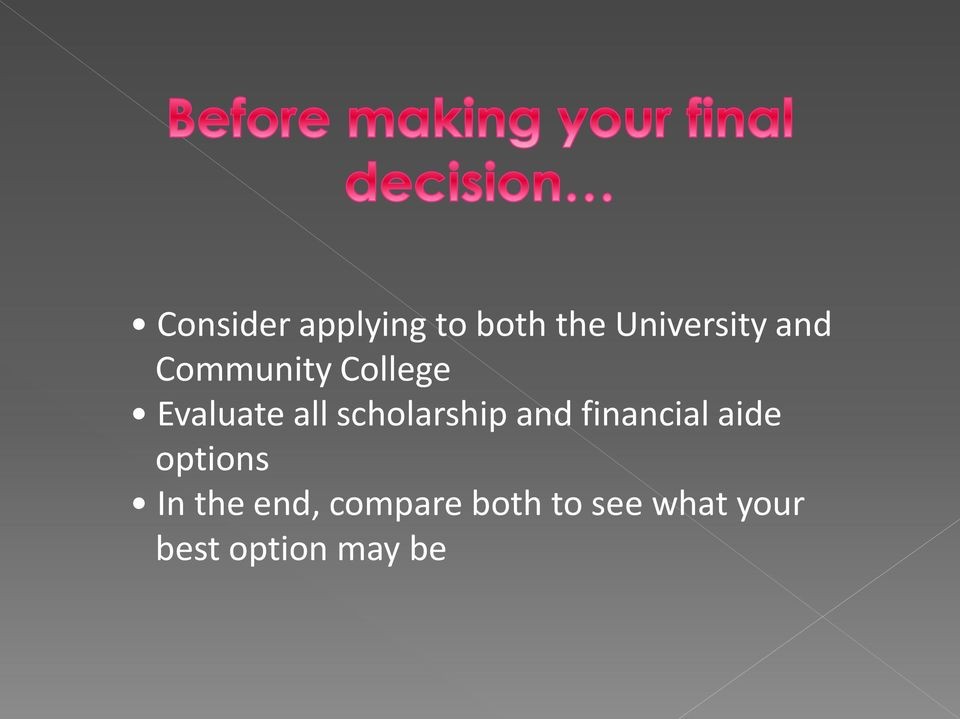 scholarship and financial aide options In