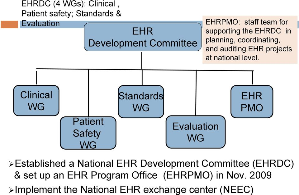 Clinical WG Patient Safety WG Standards WG Evaluation WG EHR PMO Established a National EHR Development