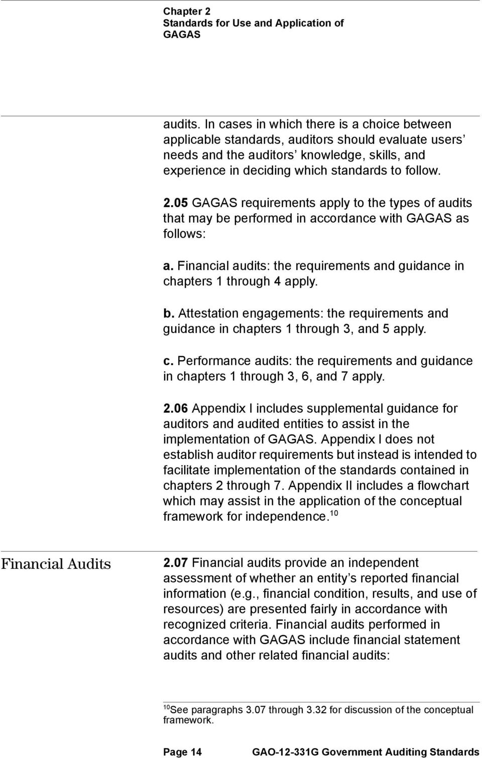 05 GAGAS requirements apply to the types of audits that may be performed in accordance with GAGAS as follows: a. Financial audits: the requirements and guidance in chapters 1 through 4 apply. b. Attestation engagements: the requirements and guidance in chapters 1 through 3, and 5 apply.