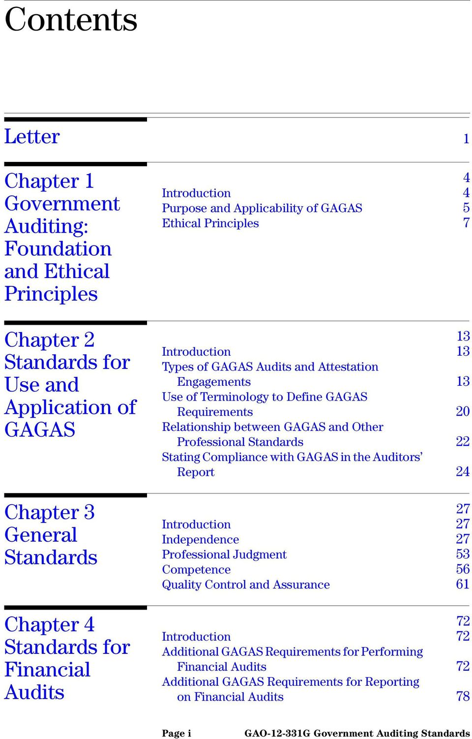 GAGAS Requirements 20 Relationship between GAGAS and Other Professional Standards 22 Stating Compliance with GAGAS in the Auditors Report 24 27 Introduction 27 Independence 27 Professional