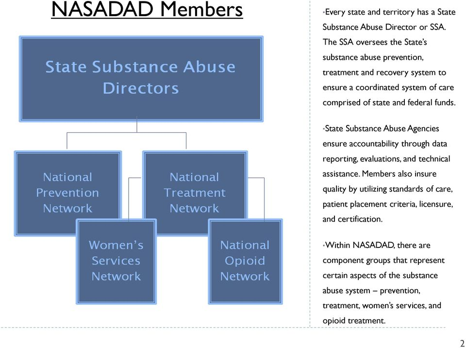 State Substance Abuse Agencies ensure accountability through data reporting, evaluations, and technical assistance.