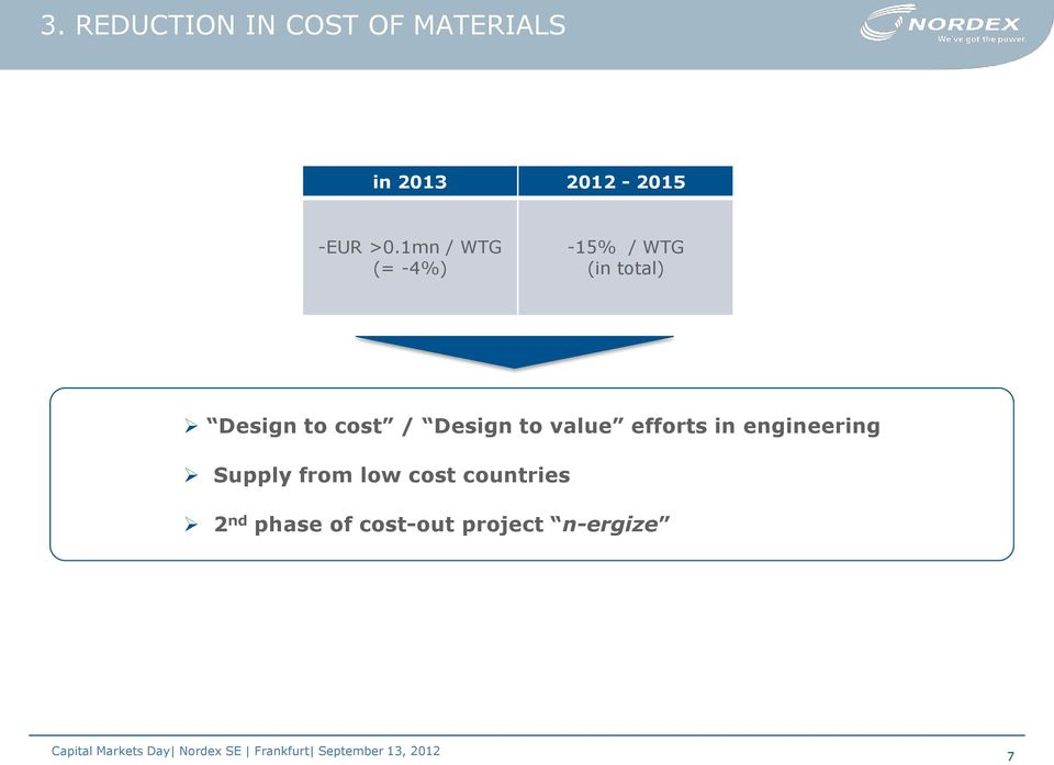 cost / Design to value efforts in engineering Supply