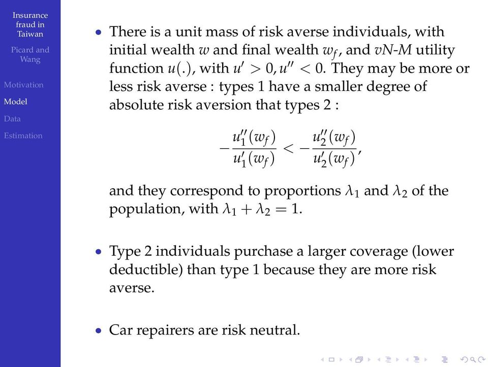 They may be more or less risk averse : types 1 have a smaller degree of absolute risk aversion that types 2 : u 1 (w f ) u 1 (w f )