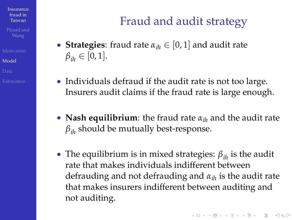 Nash equilibrium: the fraud rate α ih and the audit rate β ih should be mutually best-response.