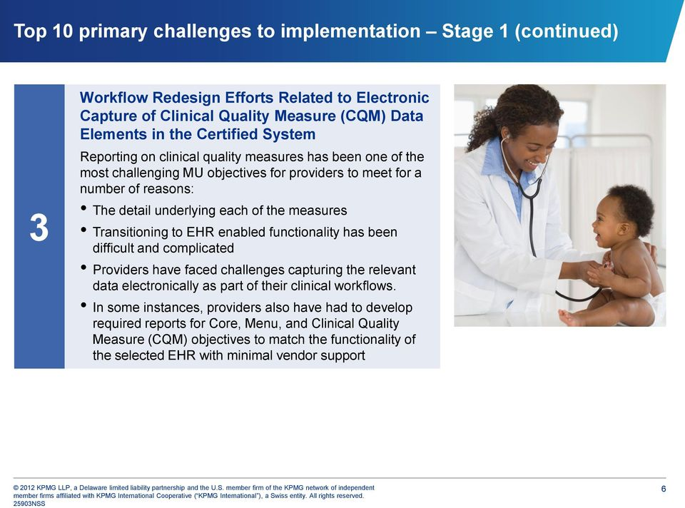 EHR enabled functionality has been difficult and complicated Providers have faced challenges capturing the relevant data electronically as part of their clinical workflows.