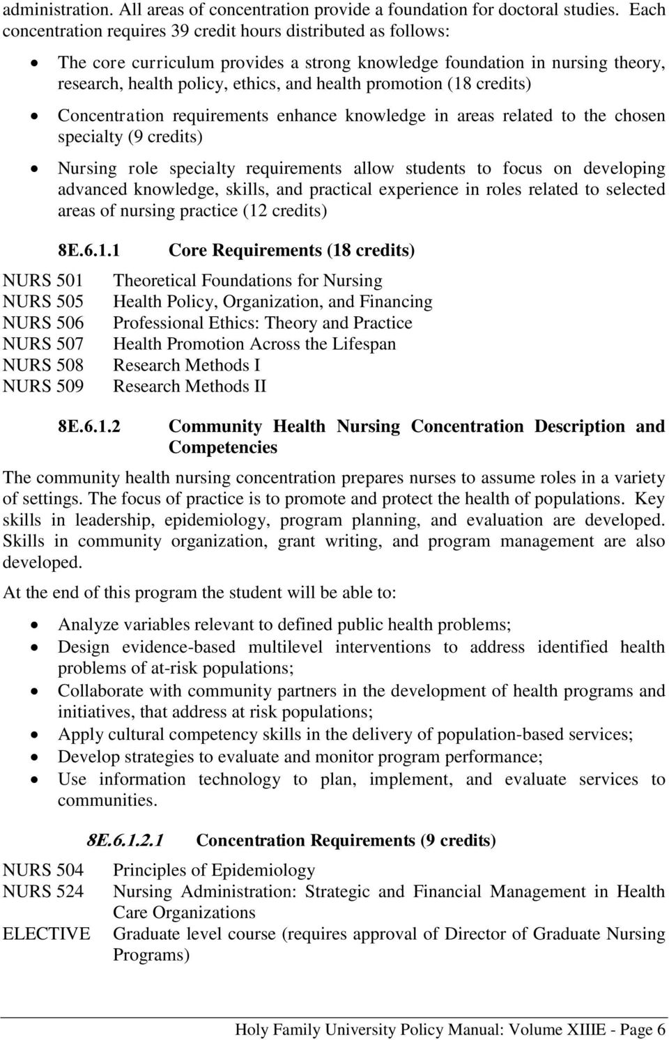 research, health policy, ethics, and health promotion (18 credits) Concentration requirements enhance knowledge in areas related to the chosen specialty (9 credits) Nursing role specialty