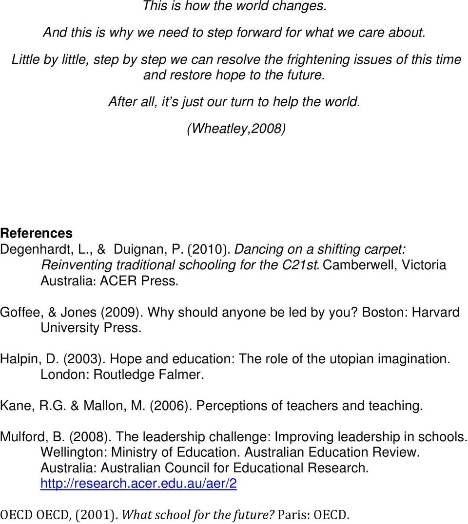 (Wheatley,2008) References Degenhardt, L., & Duignan, P. (2010). Dancing on a shifting carpet: Reinventing traditional schooling for the C21st. Camberwell, Victoria Australia: ACER Press.