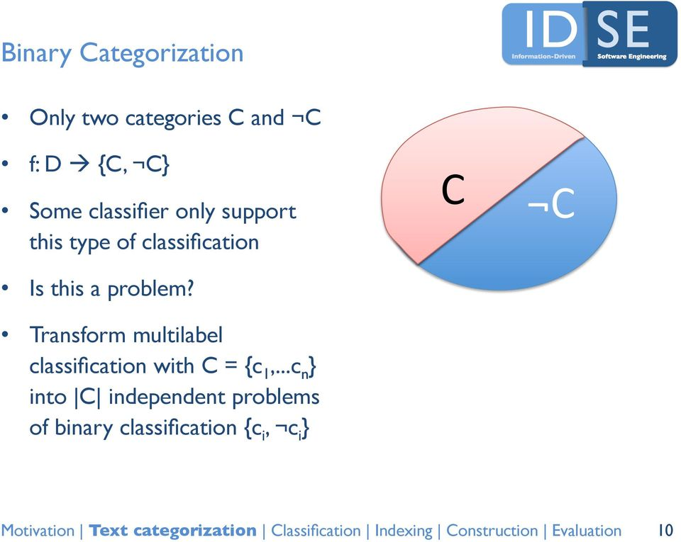 problem? Transform multilabel classification with C = {c 1,.