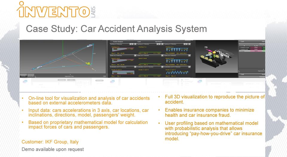 Based on proprietary mathematical model for calculation impact forces of cars and passengers.