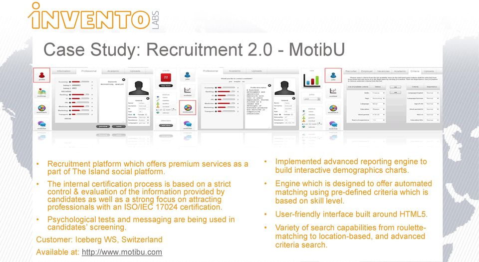 certification. Psychological tests and messaging are being used in candidates screening. Customer: Iceberg WS, Switzerland Available at: http://www.motibu.