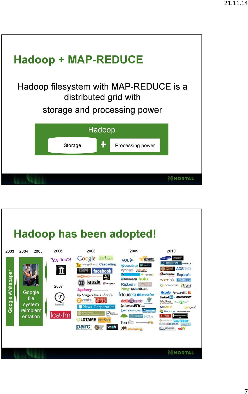 distributed grid with storage and processing power Hadoop Storage