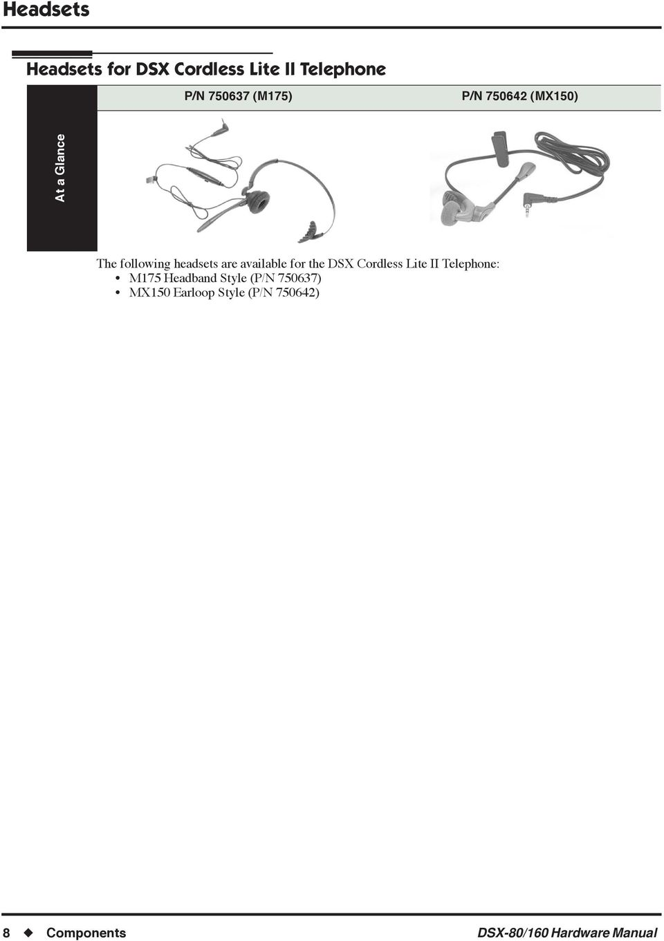 for the DSX Cordless Lite II Telephone: M175 Headband Style (P/N