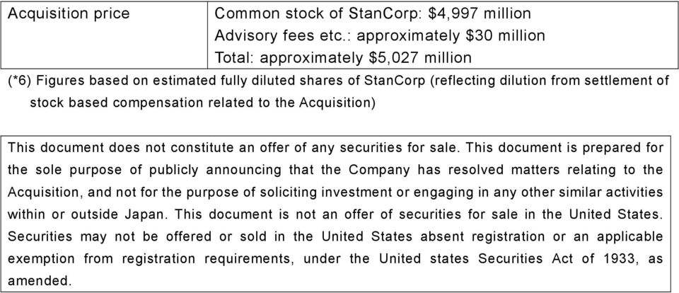 related to the Acquisition) This document does not constitute an offer of any securities for sale.