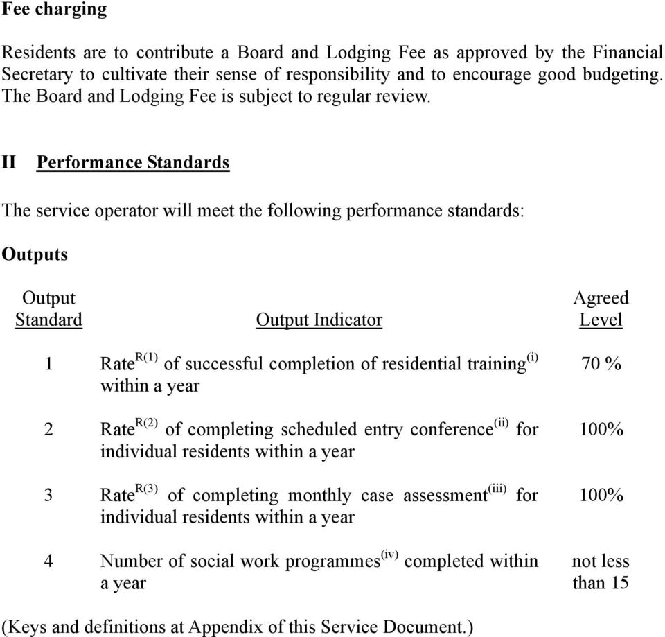 II Performance Standards The service operator will meet the following performance standards: Outputs Output Standard Output Indicator Agreed Level 1 Rate R(1) of successful completion of residential
