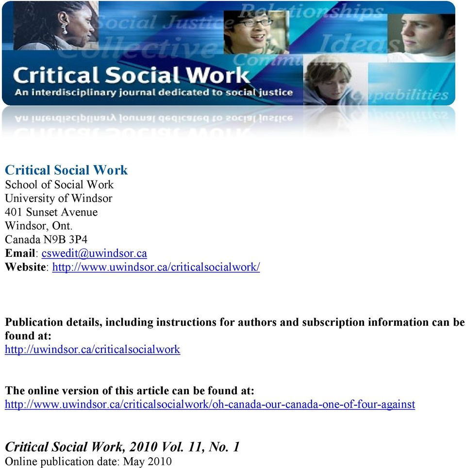 ca/criticalsocialwork/ Publication details, including instructions for authors and subscription information can be found at: http://uwindsor.