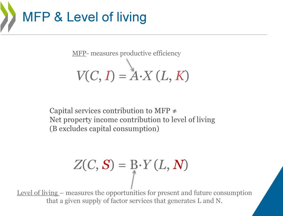 excludes capital consumption) Z(C, S) = B Y (L, N) Level of living measures the