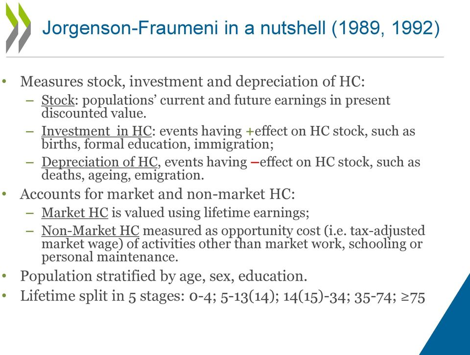 ageing, emigration. Accounts for market and non-market HC: Market HC is valued using lifetime earnings; Non-Market HC measured as opportunity cost (i.e. tax-adjusted market wage) of activities other than market work, schooling or personal maintenance.