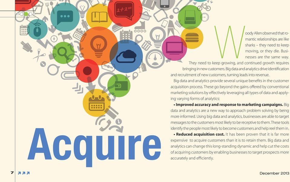 Big data and analytics provide several unique benefits in the customer acquisition process.