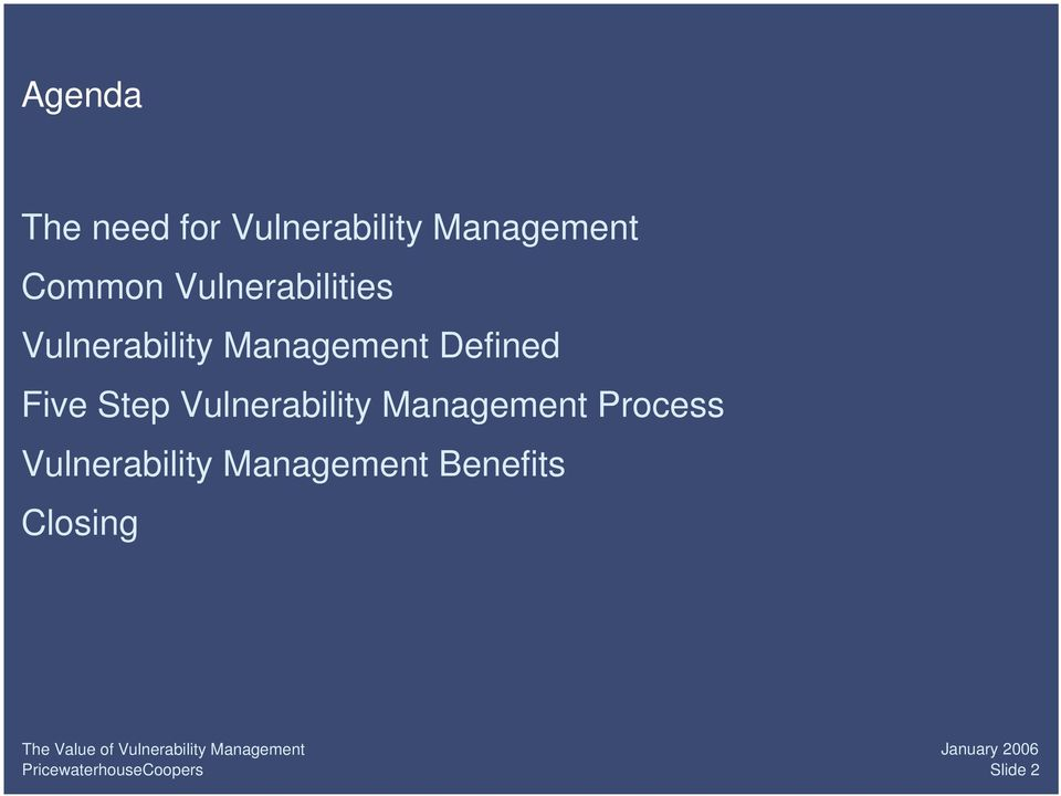 Defined Five Step Vulnerability Management