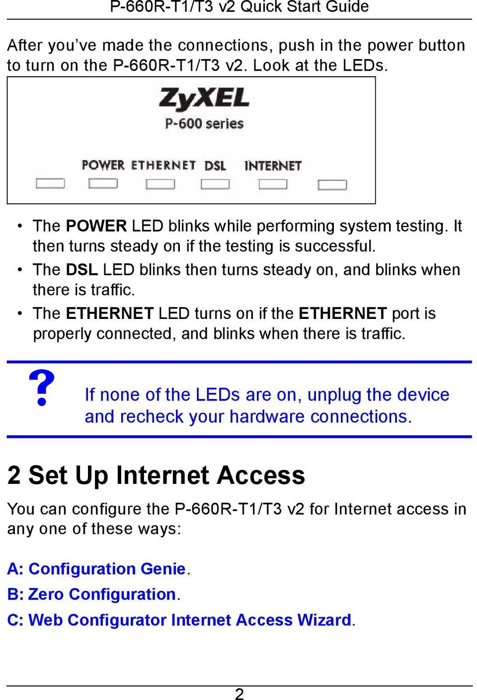 The ETHERNET LED turns on if the ETHERNET port is properly connected, and blinks when there is traffic.