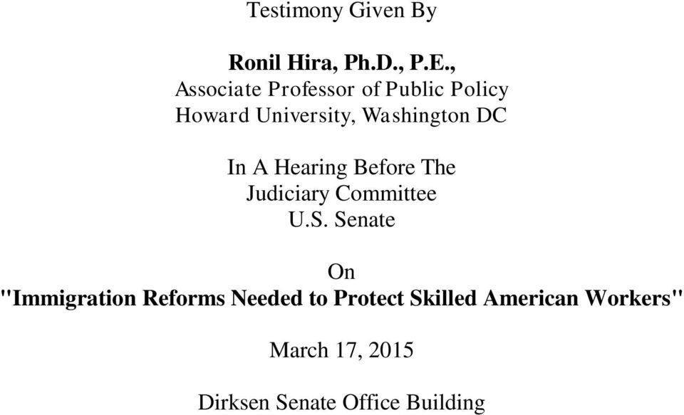 DC In A Hearing Before The Judiciary Committee U.S.