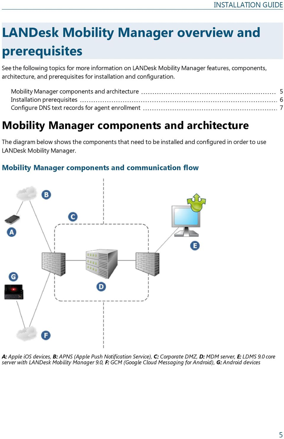 Mobility Manager components and architecture 5 Installation prerequisites 6 Configure DNS text records for agent enrollment 7 Mobility Manager components and architecture The diagram below shows the