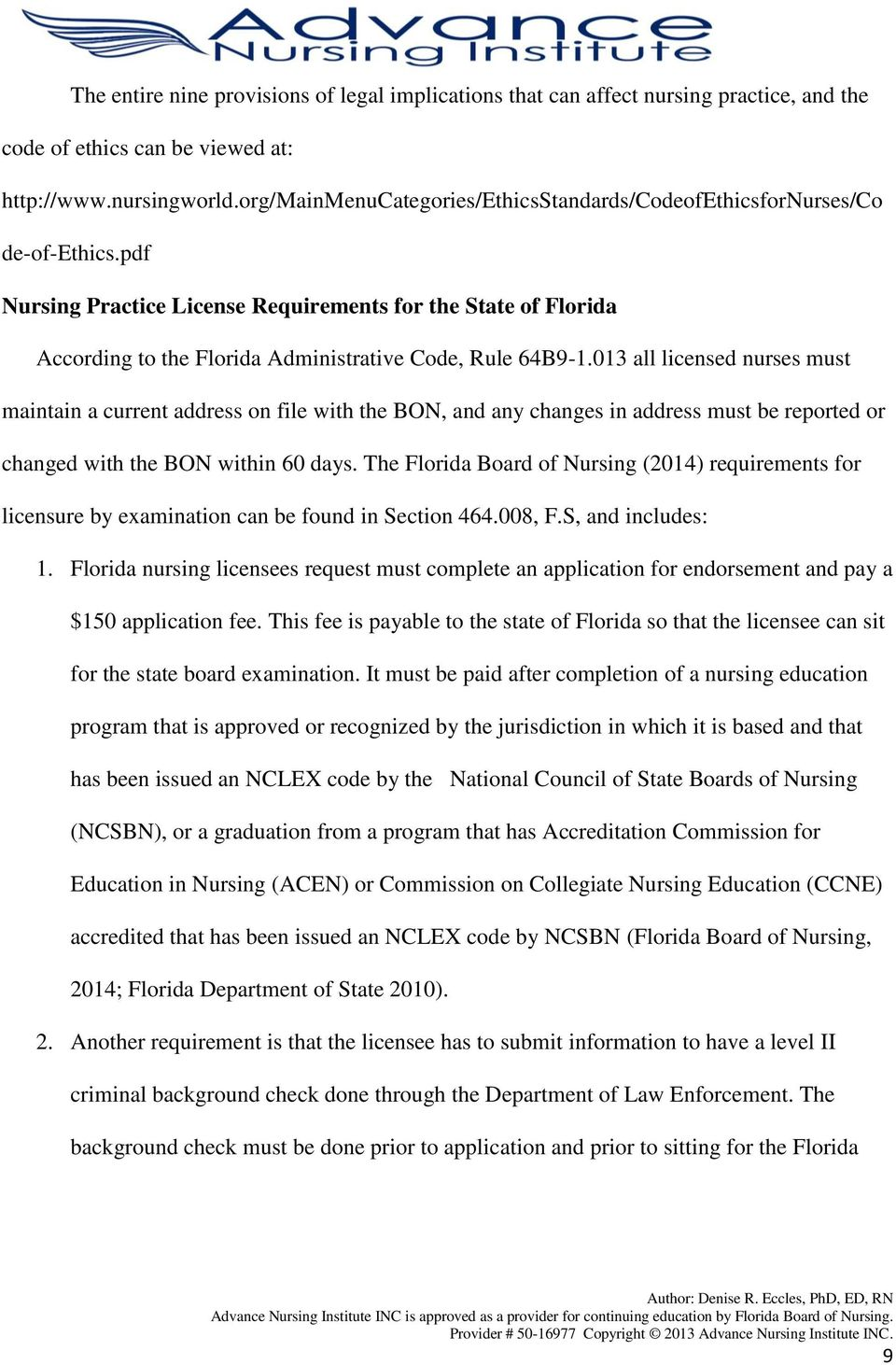 pdf Nursing Practice License Requirements for the State of Florida According to the Florida Administrative Code, Rule 64B9-1.