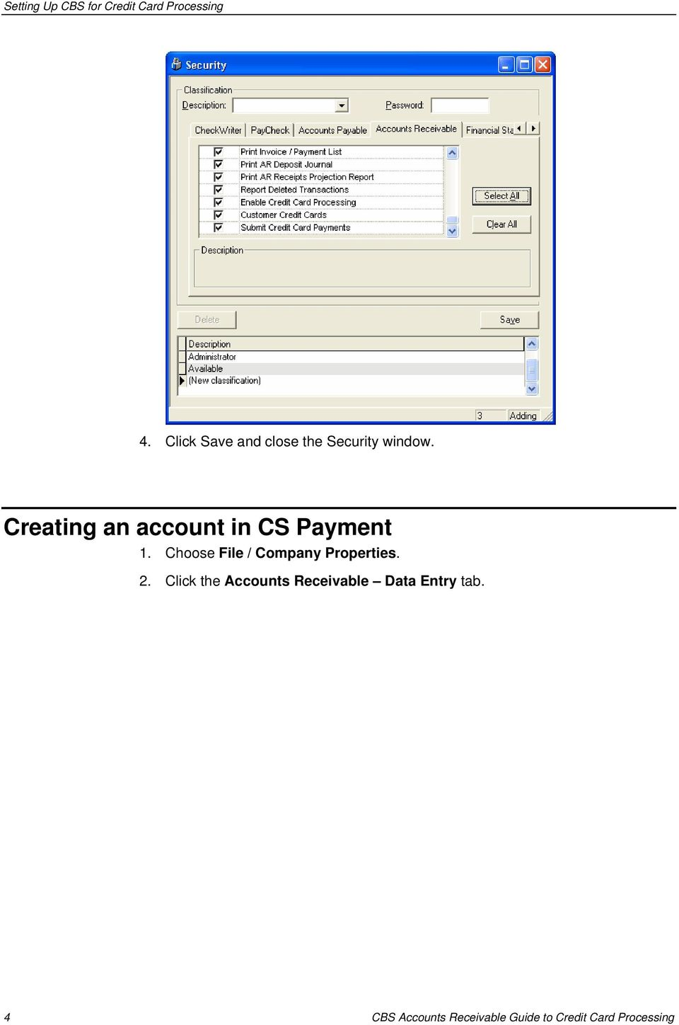 Creating an account in CS Payment 1.