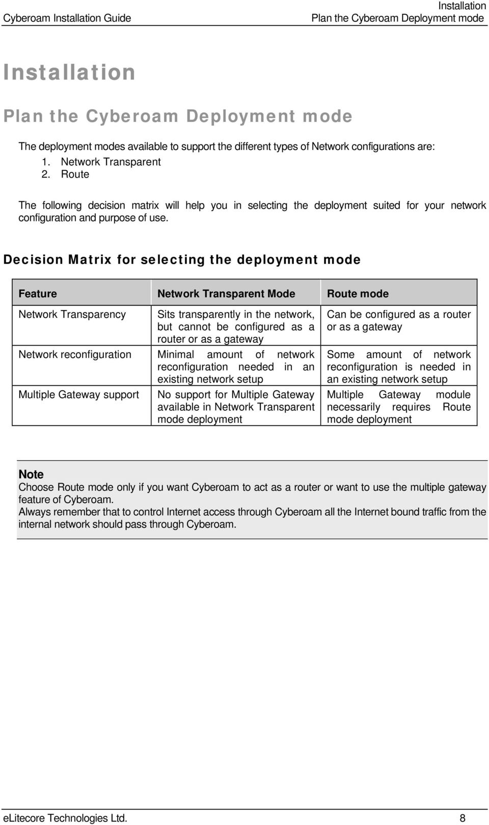 Decision Matrix for selecting the deployment mode Feature Network Transparent Mode Route mode Network Transparency Sits transparently in the network, but cannot be configured as a router or as a