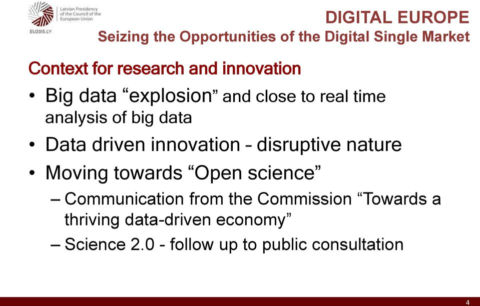 Data driven innovation disruptive nature Moving towards Open science Communication from