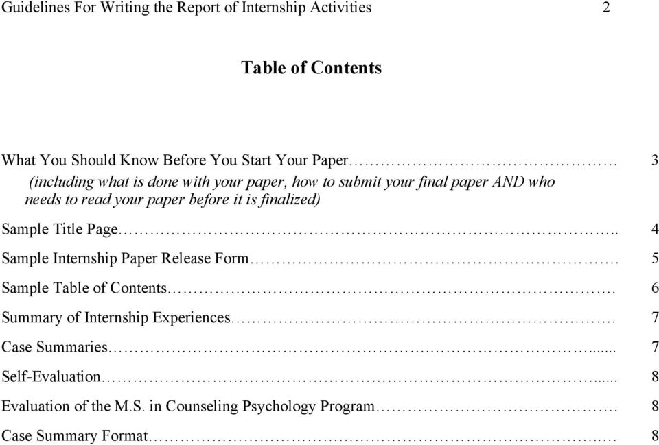 finalized) Sample Title Page.. 4 Sample Internship Paper Release Form. 5 Sample Table of Contents.