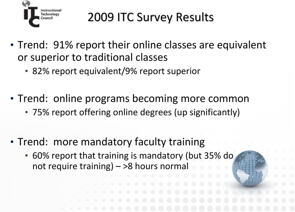 more common 75% report offering online degrees (up significantly) Trend: more mandatory