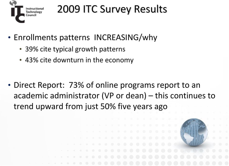 Direct Report: 73% of online programs report to an academic