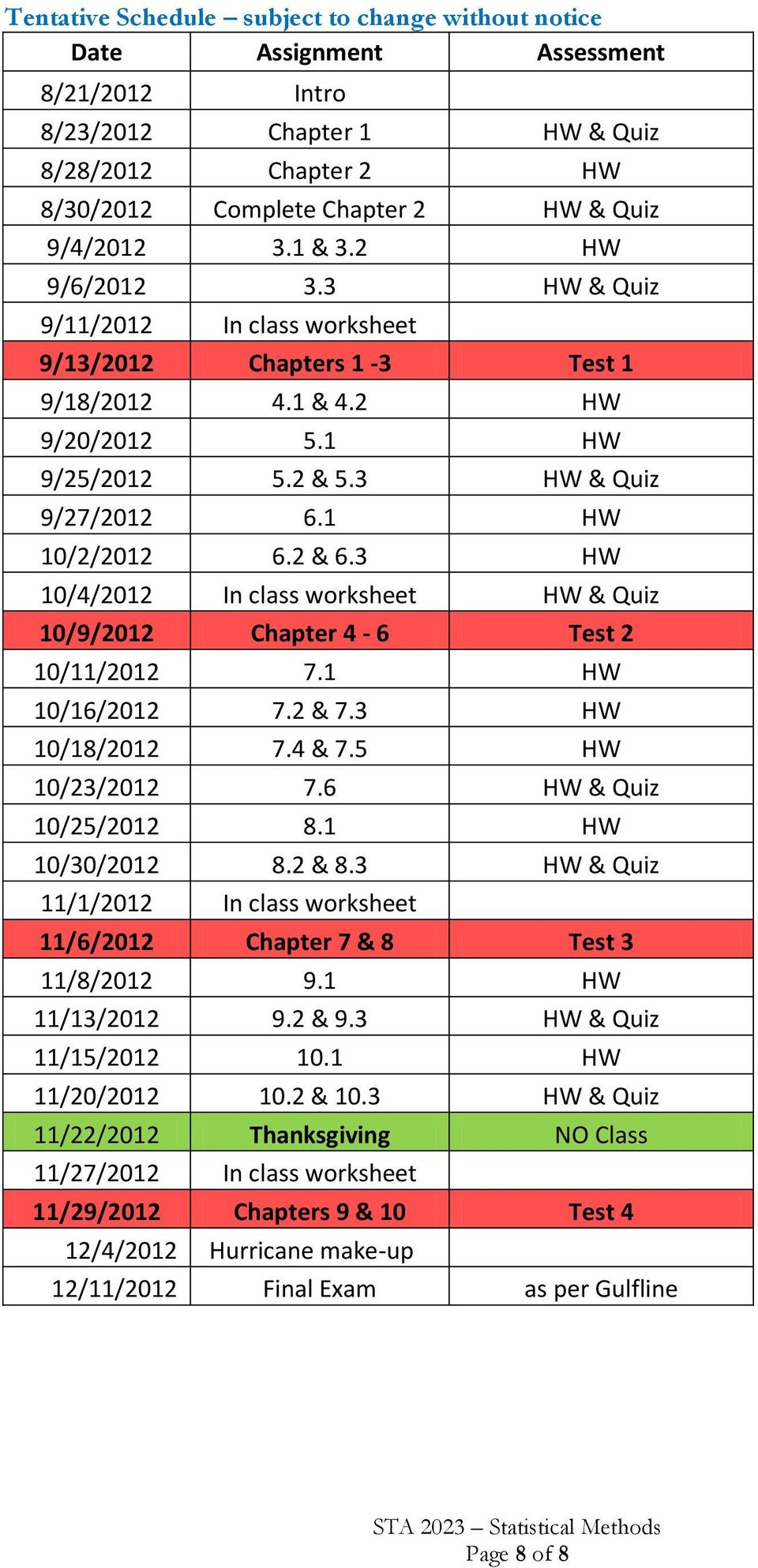 3 HW 10/4/2012 In class worksheet HW & Quiz 10/9/2012 Chapter 4-6 Test 2 10/11/2012 7.1 HW 10/16/2012 7.2 & 7.3 HW 10/18/2012 7.4 & 7.5 HW 10/23/2012 7.6 HW & Quiz 10/25/2012 8.1 HW 10/30/2012 8.