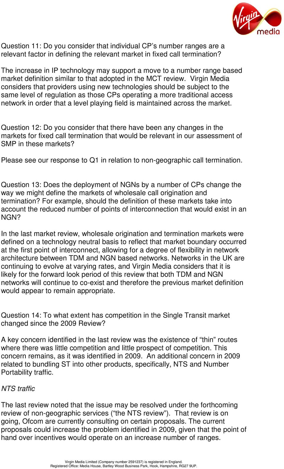 VIRGIN MEDIA S RESPONSE TO OFCOM S FIXED NARROWBAND MARKET REVIEW AND  NETWORK CHARGE CONTOL CALL FOR INPUTS - PDF Free Download