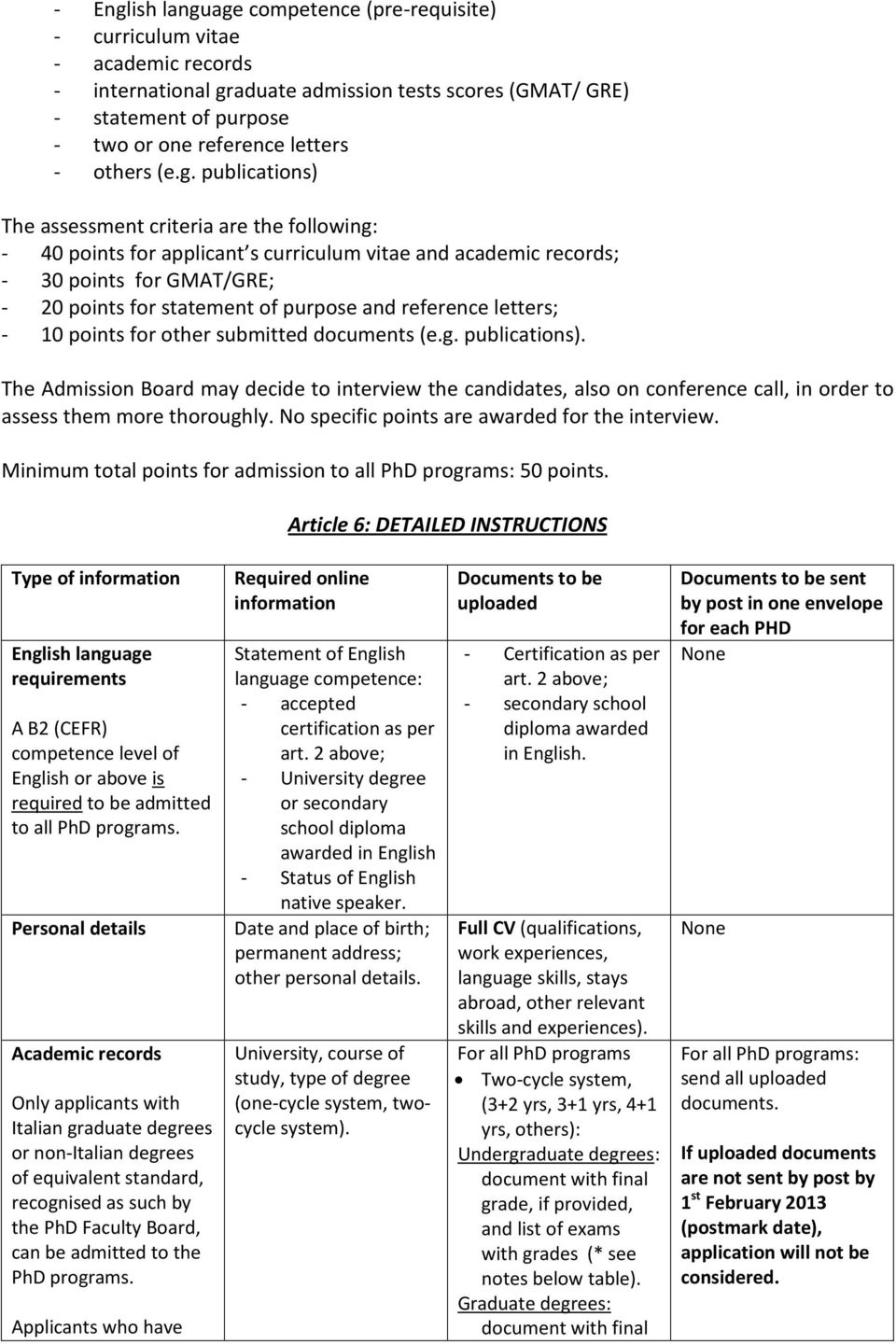 publications) The assessment criteria are the following: - 40 points for applicant s curriculum vitae and academic records; - 30 points for GMAT/GRE; - 20 points for statement of purpose and