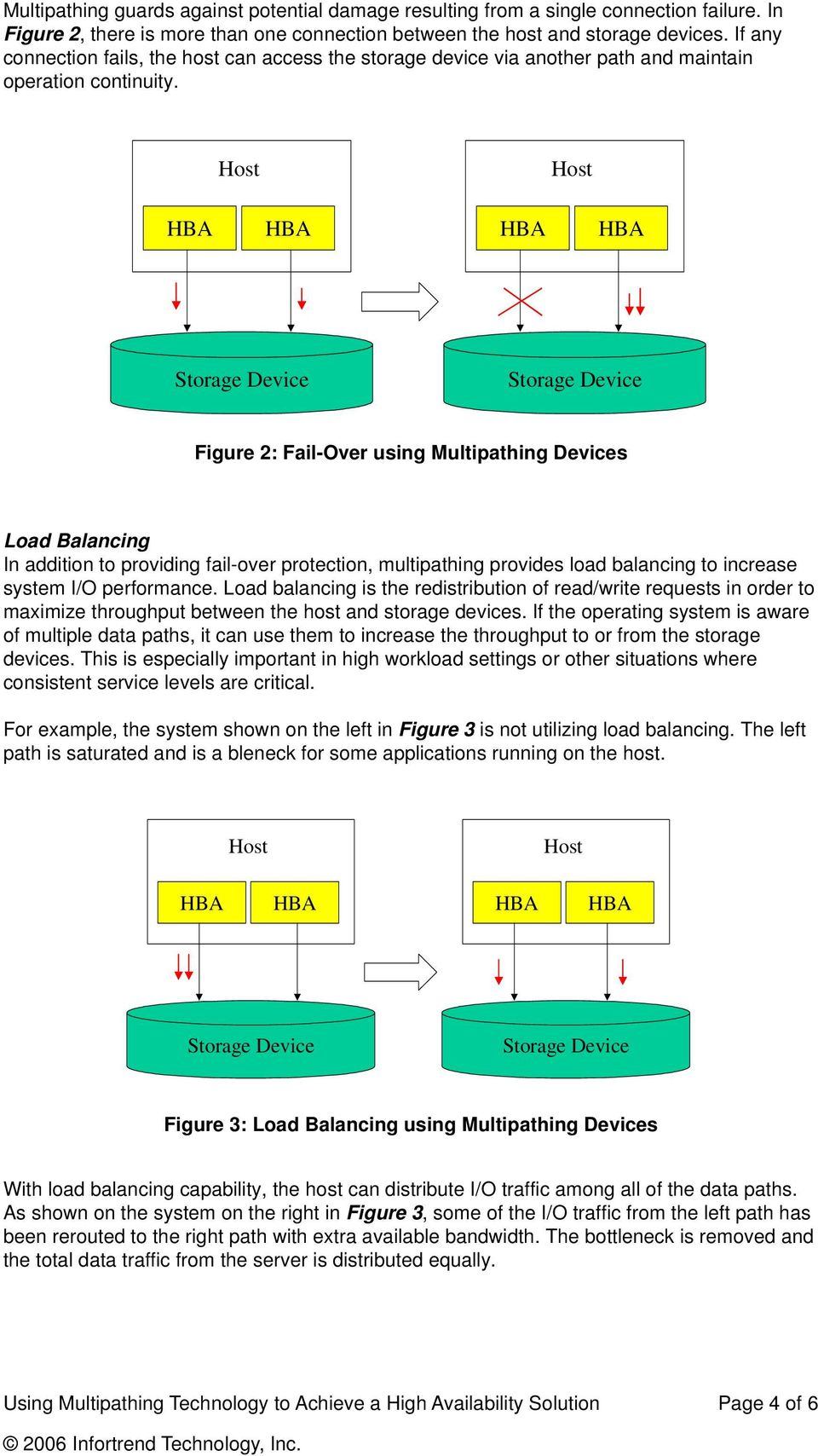 Figure 2: Fail-Over using Multipathing Devices Load Balancing In addition to providing fail-over protection, multipathing provides load balancing to increase system I/O performance.