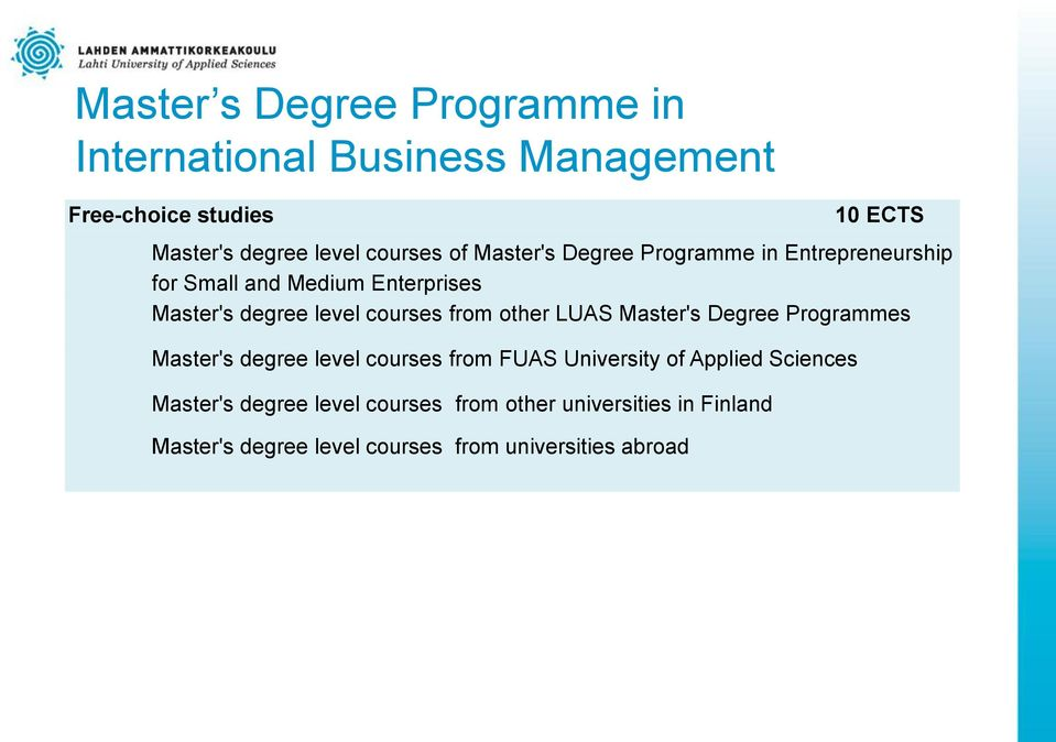 Master's Degree Programmes Master's degree level courses from FUAS University of Applied Sciences