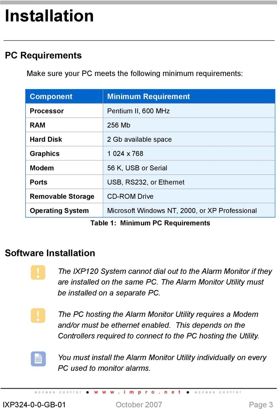 Software Installation The IXP120 System cannot dial out to the Alarm Monitor if they are installed on the same PC. The Alarm Monitor Utility must be installed on a separate PC.