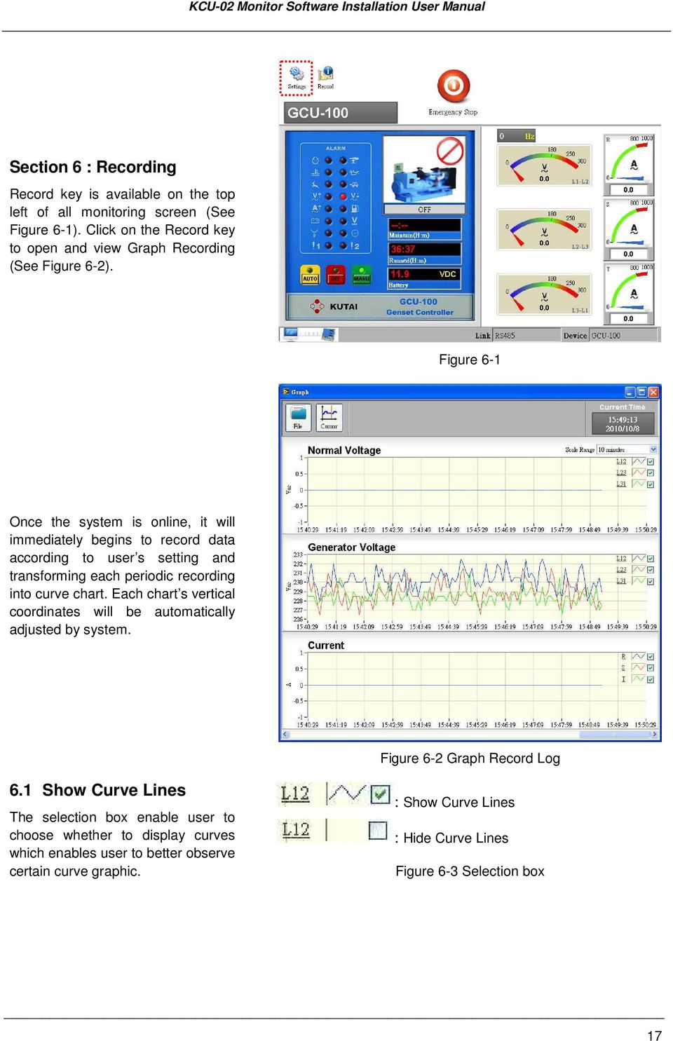 Figure 6-1 Once the system is online, it will immediately begins to record data according to user s setting and transforming each periodic recording into curve chart.